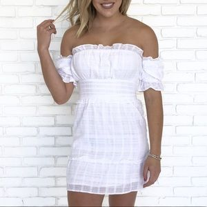 white off the shoulder sundress with ruffles